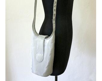 SILVER SHOULDER BAG, shiny, silver, gift, design, bag, single piece, unique, sling bag