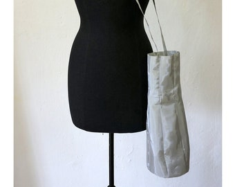 SILVER BAG for BOTTLE, shiny, silver, gift, design, shoulder bag, single piece, unique