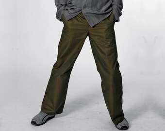 MEN TROUSERS, iridescent Pants Men, changeant, changierend, shiny, piping, cotton, khaki, gold, handmade, trousers