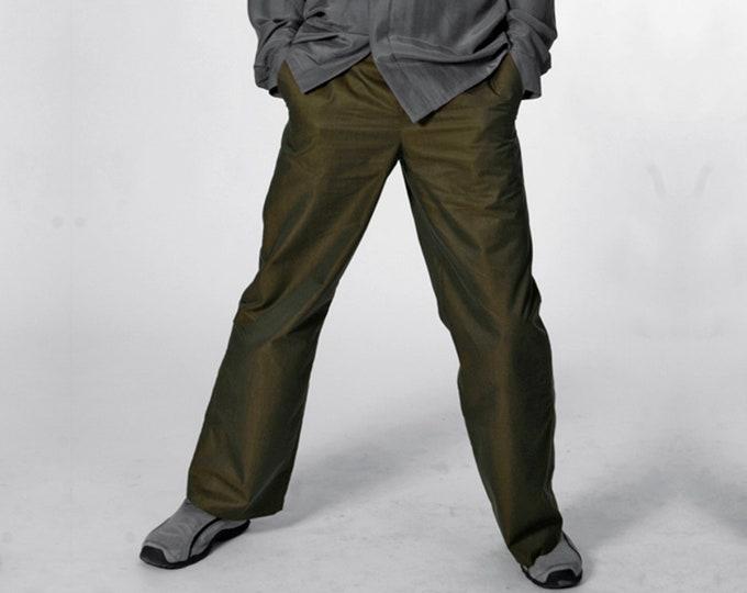 MEN TROUSERS, iridescent Pants Men, changeant, changierend, shiny, piping, cotton, khaki, gold, handmade, trousers