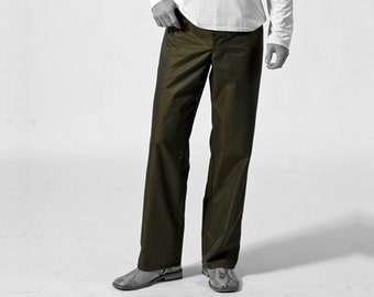 MEN TROUSERS iridescent Pants, changierend, changeant, cotton, Vintage, 19th century, khaki, gold, handmade, trousers, changeant