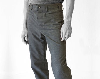 TROUSERS MEN, Wool, gray, G.D.R Vintage fabric