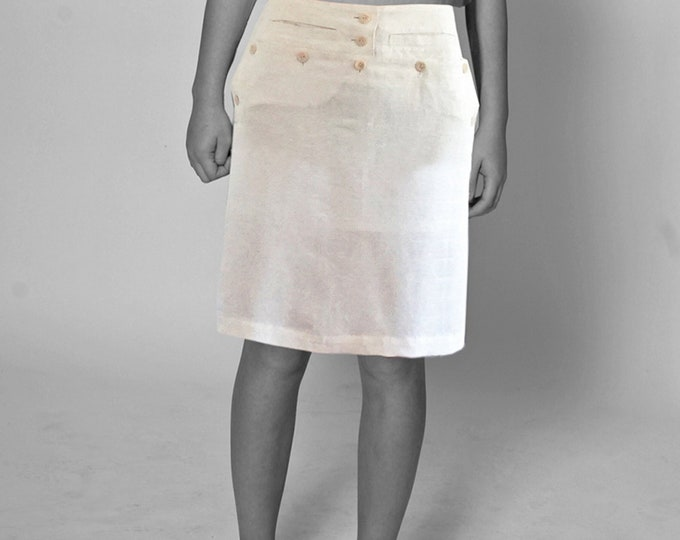 SAILOR SKIRT  white, beige, cream, black, brown, sailor, seamen, uniform, vintage, 18. / 19. century, handmade, yacht, navy, cotton, Silk