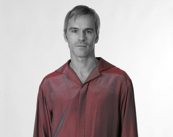 MEN STRIPES SHIRT Silk, Linen, Cotton, striped Shirt, concealed closure, formal wear