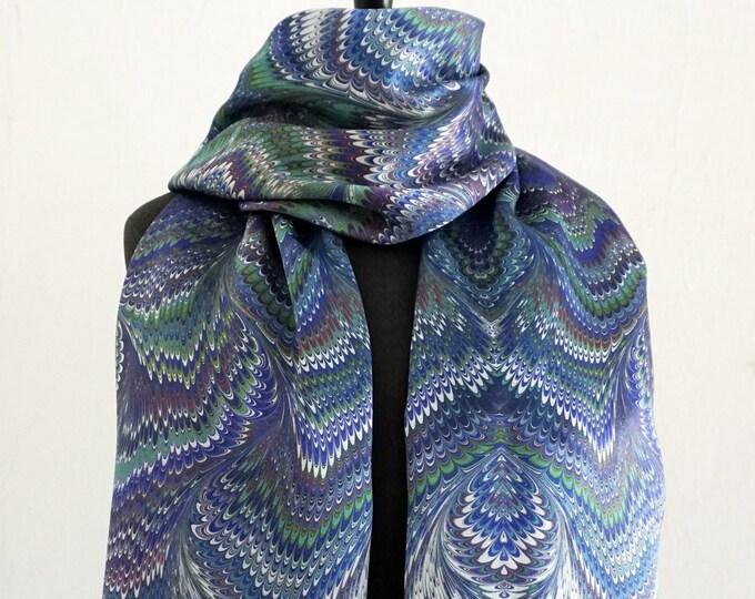 ART DÉCO SCARF Silk, Cotton, Art Nouveau, digital print, 1920s, 1930s, 1940, marbling scarves, art deco, wraps, blue, green