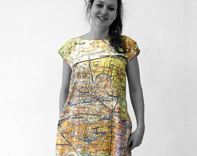 PIONEER Berlin, Dress, A-line, 1960 er Jahre,map, card, plan, Tunic, Viscose, Communism, Socialism, digital print,