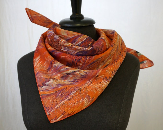 ART DECO SCARF Silk, Cotton, Art Nouveau, digital print, 1920, 1930, 1940, orange, blue, red