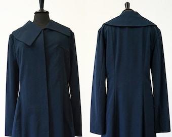 blue short COAT Asymmetry, wool, pockets, silver, dark blue