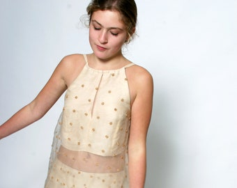 BEADS-TOP embroidered, layered, silk, lace, wedding