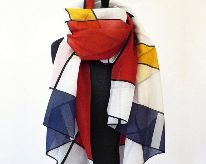 BAUHAUS SCARF cotton, silk, De Stijl, Constructivism, Art, digital print