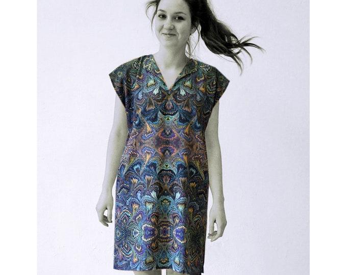 ART DECO Dress, Tunic with belt, Viscose, Art Deco, Art Nouveau, digital print, 1920 - 1940, marbling