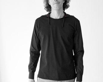 MEN HOODY SHIRT in white or black, Slip form, Jersey, Cotton