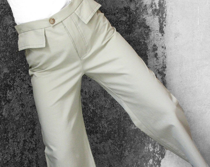 MEN 7/8 PANTS cropped trousers, ankle long, button closure