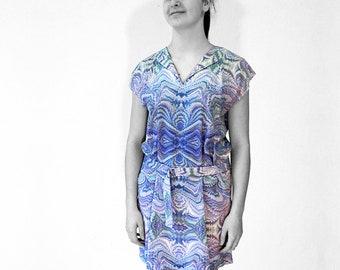 ART-DECO Dress Tunic with belt Art-Nouveau, marbling