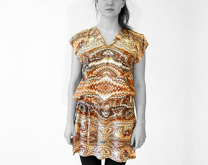 ART DECO Dress, Tunic with belt, Viscose, Art Deco, Art Nouveau, digital print, 1920s - 1940s, marbling