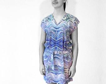 ART-DECO marbling Dress with belt, Tunic, Art-Nouveau 1930