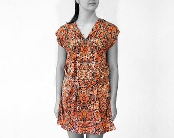 ART DECO Tunic, Dress with belt, Art Nouveau 1920-1940, marbling, brown