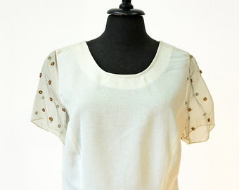 embroidered BLOUSE beads silk linen lace wedding