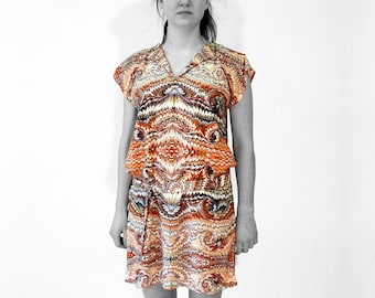 ART DÉCO marbled Dress, Tunic with belt, Art Nouveau 1920-1940