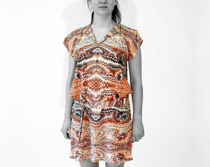 ART DÉCO marbled Dress, Tunic with belt, Art Nouveau 1920-1940, digital print