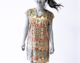 ART DÈCO Dress, Tunic with belt, Art Nouveau, marbling
