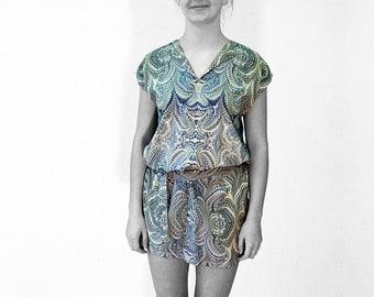 ART-DECO marbling Dress, Tunic with belt, Art Nouveau 1920-40