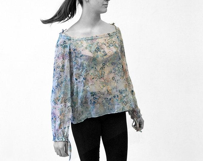 Silk Velvet burnout BLOUSE off shoulder top, transparent, lace, embroidery, translucent top
