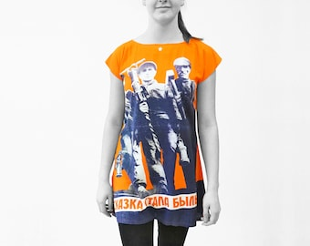 DRESS TUNIC printed with Soviet posters from the 1920-1940