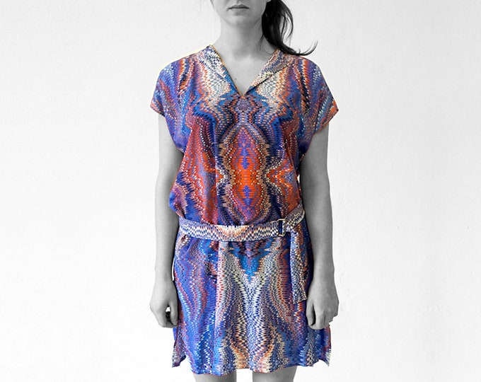 ART DECO Dress, Tunic, with belt, Viscose, Art Deco, Art Nouveau, digital print, 1920, 1930, 1940s, marbling, art déco,