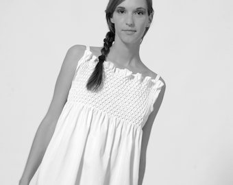 TOP SMOCK in white or black, handmade smok, decorative pleats, embroidered