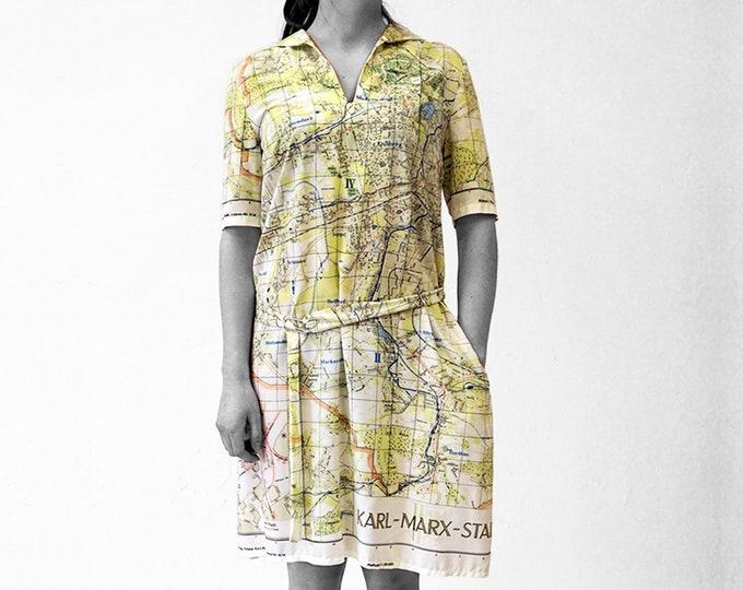 KARL MARX STADT Dress with Belt, 3/4 Sleeves, sailor collar, digital print