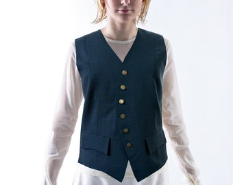 WOOL VEST with silver buttons and pockets