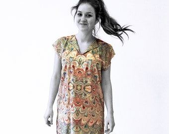ART-DÈCO Dress, Tunic with belt, Art-Nouveau marbling