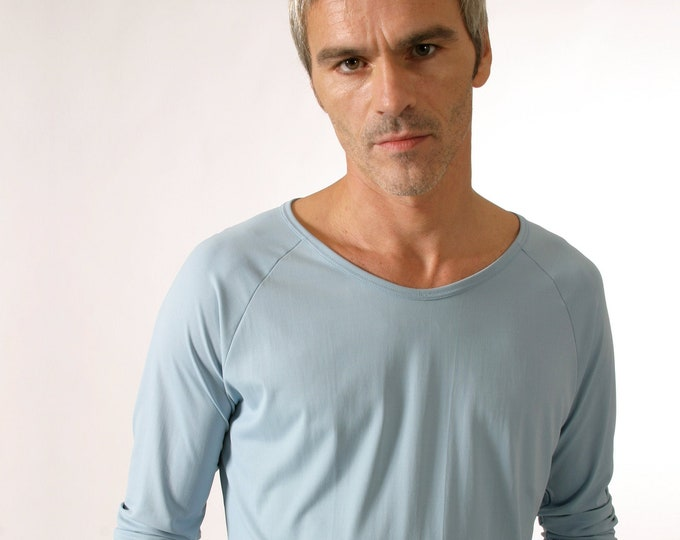 MEN T-SHIRT in many colors, round neck, Raglan, microfibre, Long Sleeves, G.D.R. Print