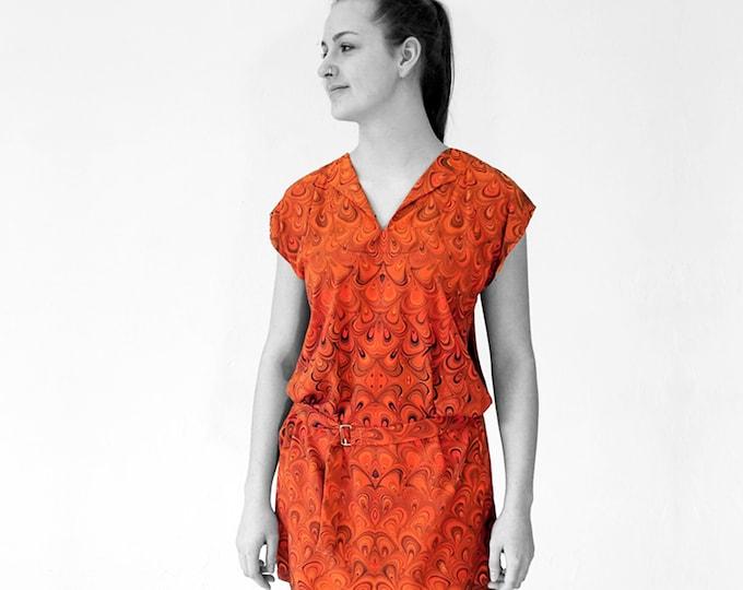 ART DECO Dress, Tunic with belt, Viscose, Art Deco, Art Nouveau, digital print, 1920 - 1940s, marbling, art déco