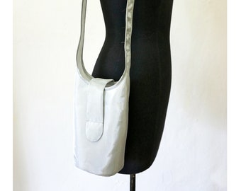 SILVER SHOULDER BAG, shiny, gift, design, bag, single piece, unique, sling bag