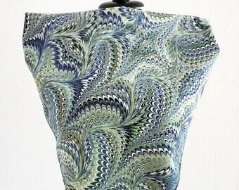 ART DECO SCARF Silk Cotton Marbling, Art Nouveau, 1920 1930 1940 green blue