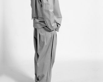 MEN WIDE PANTS with Folds, high waist, wool, cotton, 1940s, 1960s, volume trousers