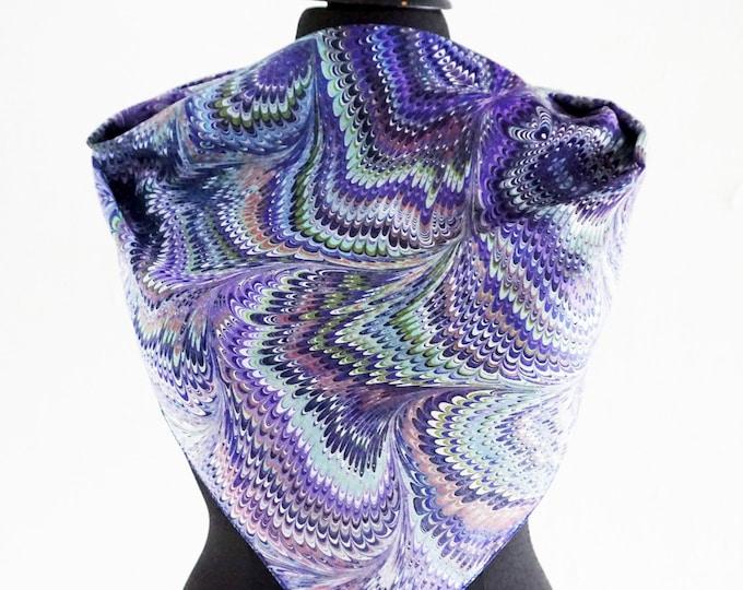 ART-DECO SCARF marbling scarves, blue, green, silk, cotton, Art Nouveau, digital print