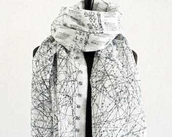 SEWING PATTERN SCARF cotton batiste, fashion illustrations 1960s, big shawl