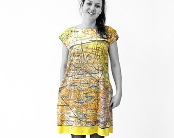 BERLIN DRESS Tunic A-line GDR map from 1960s sleeveless