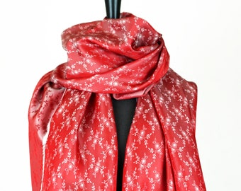 JACQUARD SCARF iridescent, Fray, changierend, shawl with woven small flowers, red, white