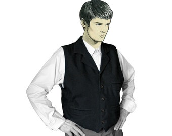 MAN VEST with LABEL in different colors, wool, formal wear