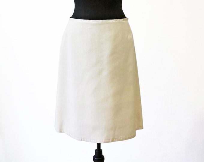 SILK SKIRT with lining, wedding, creme, A-line skirt