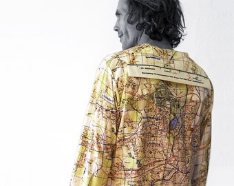 Karl Marx City plan Shirt with long Sleeves and sailor collar, map