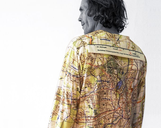 Karl Marx City plan Shirt with long Sleeves and sailor collar, Karl-Marx-Stadt map, digital print
