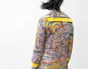 BERLIN Blouse with 3/4 sleeves, sailor collar, Berlin Map from 1960, digital print