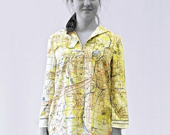 KARL-MARX-STADT Blouse with 3/4 Sleeves, sailor collar, digital print