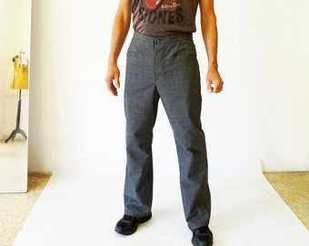 PANTS MEN with diagonale pockets in various fabrics, classic button closure