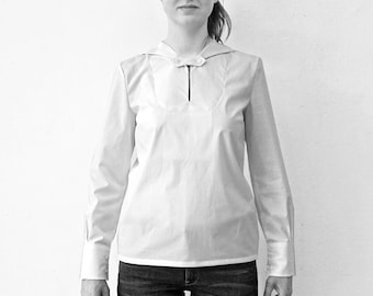 BLOUSE with SAILOR COLLAR in different fabrics: silk linen cotton, slip form